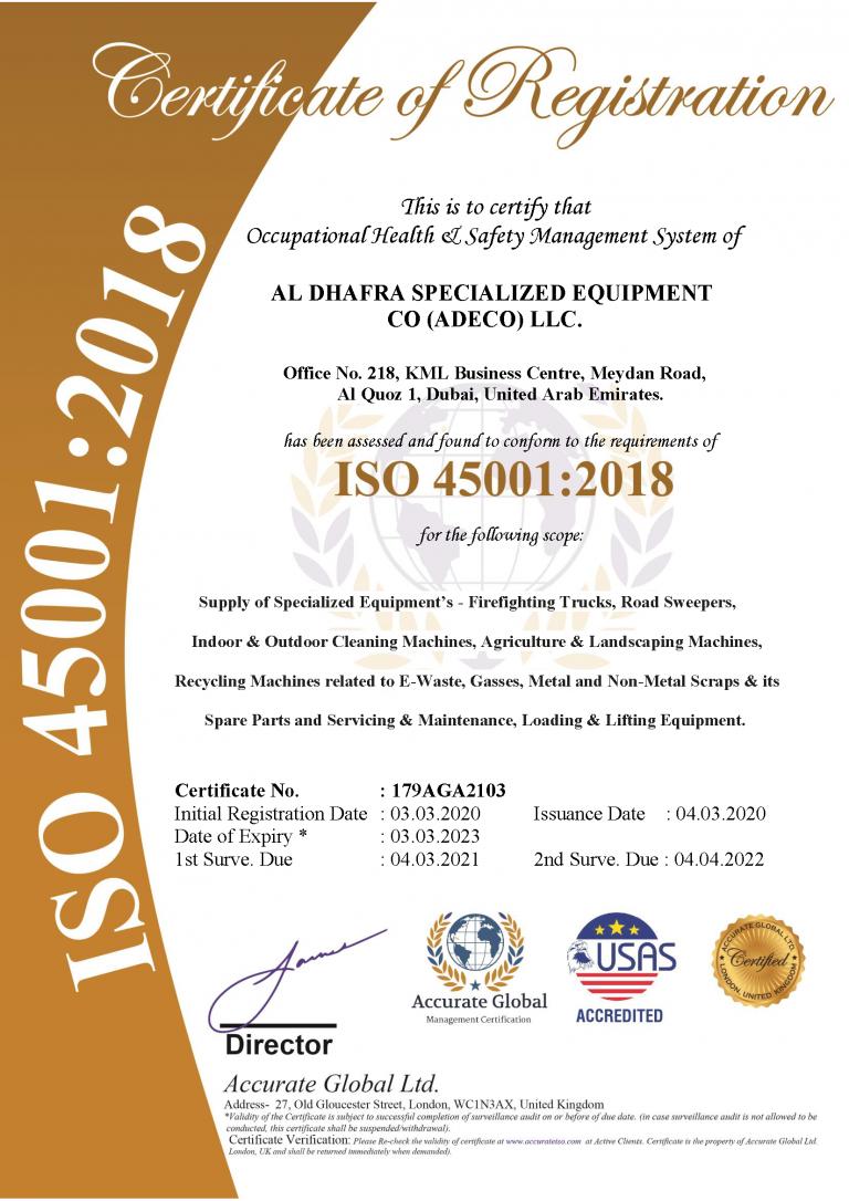 ISO 45001 certificaiton
